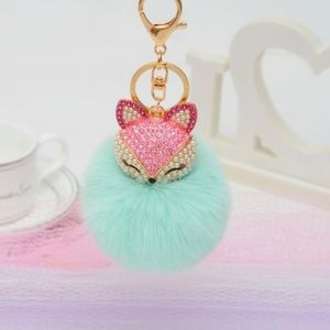 NEW Cute Fox Pom Pom Handbag Charm / Keychain 34